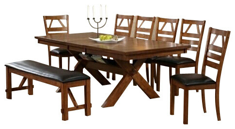 8 piece walnut finish picnic style dining table set with upholstered seat chairs contemporary. Black Bedroom Furniture Sets. Home Design Ideas