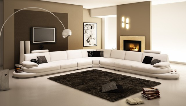954 Contemporary White Italian Leather Sectional Sofa modern-sectional-sofas