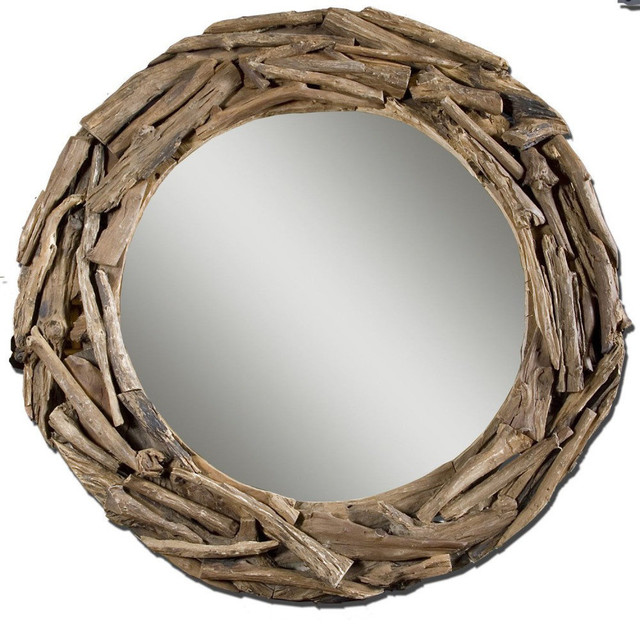 Uttermost Large Teak Root 37 Inch Round Wall Mirror