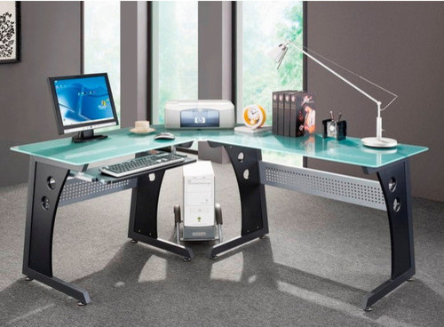 graphite frosted glass l shaped computer desk with cpu caddy modern