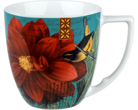 Waechtersbach - Impressions Set of 4 Mugs Impressions Dahlia in Red - Birds and dahlias form an enchanting alliance in this colorful set of four matching mugs. Made from dishwasher-safe porcelain and blessed with a generous handle, these mugs will start (or end) your day with a smile.