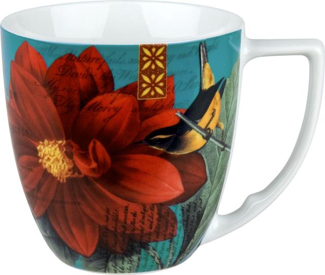 Impressions Set of 4 Mugs Impressions Dahlia in Red contemporary-mugs