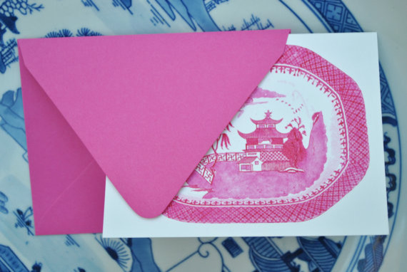Blue Willow in Pink Foldover Notecards and Envelopes by The Pink Pagoda asian-desk-accessories