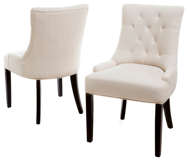Janelle Beige Tufted Fabric Dining Chairs, Set of 2 contemporary-dining-chairs