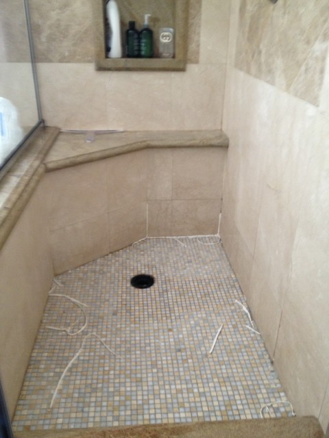 travertine mosaic walk in shower floor replace and repair leak