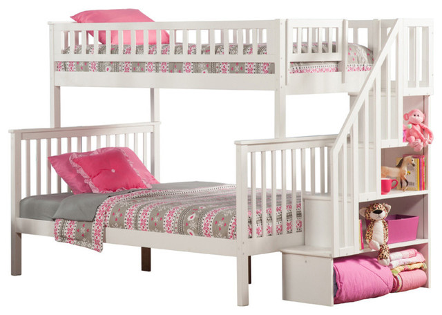 Woodland Staircase Twin Over Full Bunk Bed In White