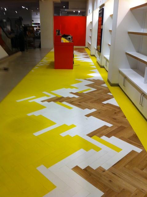 Selfridges Big Yellow Floor contemporary-wood-flooring