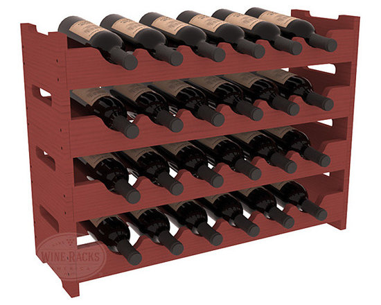 Wine Racks America - 24 Bottle Mini Scalloped Wine Rack in Pine, Cherry Stain - Stack four 6 bottle racks with pressure-fit joints for proper storage of 24 wine bottles. This rack requires no hardware for assembly and is ready to use as soon as it arrives. Makes the perfect gift and stores wine on any flat surface.