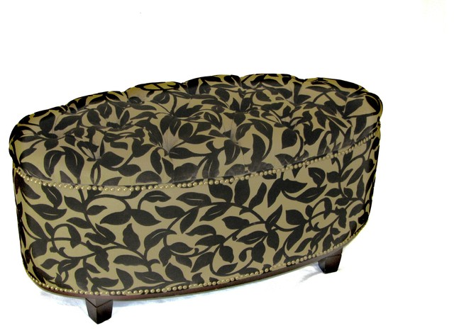 4D Concepts Ora Oval Ottoman Bench in Brown Flock modern-bedroom-benches
