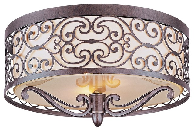 Country - Cottage Mondrian Bronze Flushmount 2-Light Ceiling Fixture traditional-ceiling-lighting