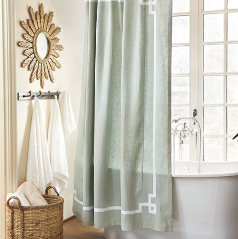 Linen Voile Curtain Fabric Yellow Floral Shower Curtain
