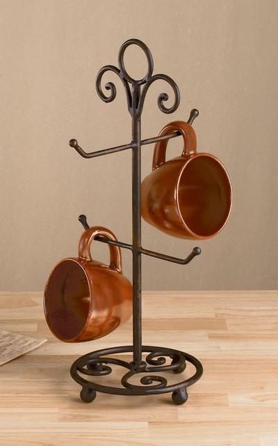 "4 Arm Brown Metal Mug Stand, 17"" Tall, Vintage Kitchen Accessory traditional-dish-racks"