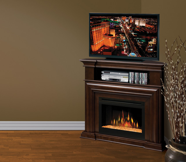 montgomery espresso corner electric fireplace media center