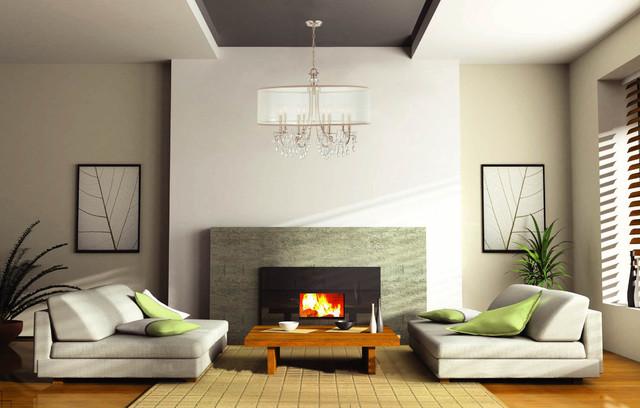 Hampton 8 Light Chrome Chandelier with Silver Drum Shade Contemporary contemporary-chandeliers