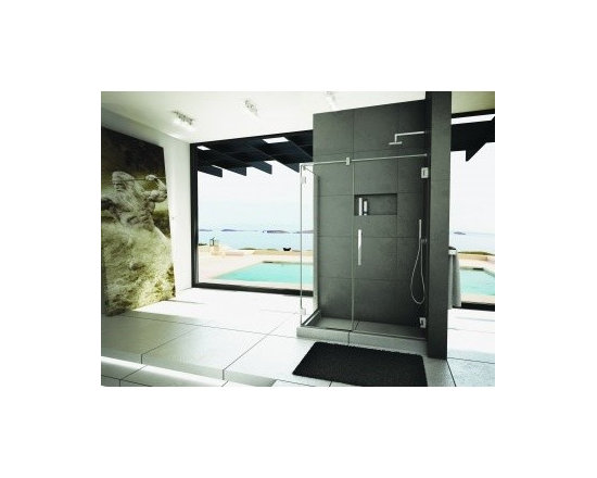 "Fleurco Titan Cronos Two-Sided 58"" x 32"" Wall-Mount Hinge Door and Fixed Panel w - Clear Water seal"