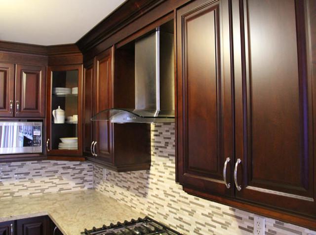 Dark Cherry Coloured Custom Kitchen Cabinets with Granite Countertop - toronto - by Millo ...