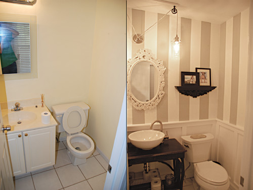 Our new half bathroom before and after for Bathroom ideas houzz