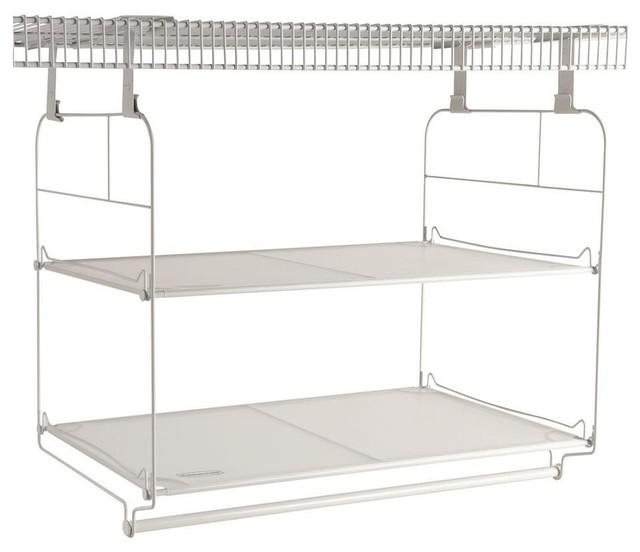 Rubbermaid Closet Organization 23 in. Closet Helper Shelf and Hang Unit White contemporary ...
