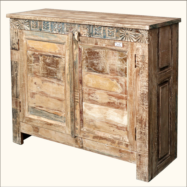 Rustic Distressed Reclaimed Wood Buffet Cabinet Credenza
