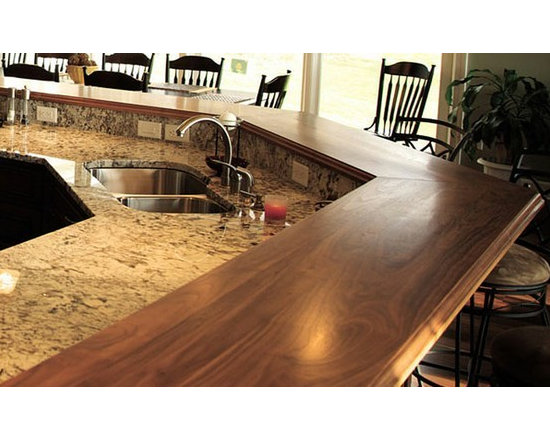 Walnut Raised Breakfast Bar Counter. Design by Mary Hines. - http://www.glumber.com/
