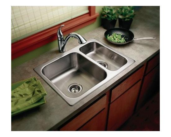 Moen Stainless Steel Kitchen Sink - Moen 22234 Camelot 20 Gauge Double Bowl Drop In Kitchen Sink in Stainless Steel