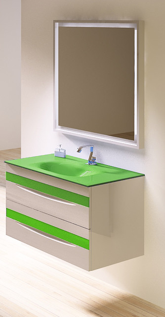 "Macral kids bathroom vanity 32"". White-green. - Contemporary - Powder Room - miami - by Macral ..."