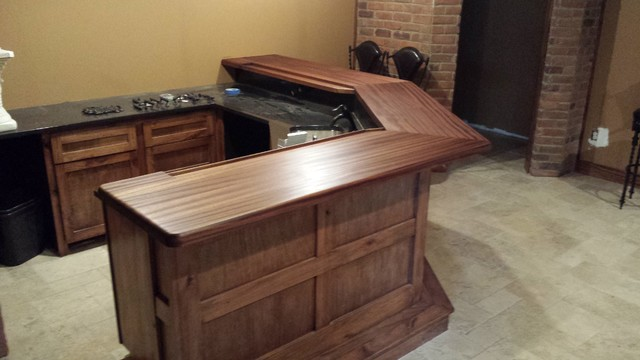 Bar Top Finishing : Ribbon mahogany bar top finish is satin waterlox