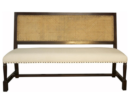 Colonial Caning Bench, Hand-Rubbed Brown -