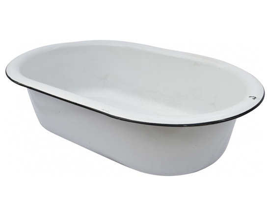 Enamelware Basin - Once a baby bathtub, a 1930's vintage white enamelware basin with black rim.  A unique garden feature filled with succulents or lavender.
