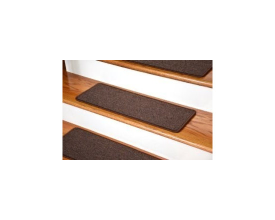 """Dean Flooring Company - Dean DIY Peel and Stick Non-Skid Carpet Stair Treads - Dark Brown (13) 27""""x9"""" - Dean DIY Peel and Stick Serged Non-Skid Carpet Stair Treads - Dark Brown (13) 27"""" x 9"""" Runner Rugs : Non-skid Peel and Stick DIY Carpet Stair Treads by Dean Flooring Company. Extend the life of your high traffic hardwood stairs. Reduce slips/increase traction. Cut down on track-in dirt. Reduce noise. Add a fresh new look to your staircase. Helps you and your dog easily navigate your slippery hardwood stairs. 100% Polypropylene. Set includes 13 peel and stick carpet stair treads easy, do-it-yourself installation. Our all new exclusive adhesive peel and stick strips (not double-sided tape) make do-it yourself installation a breeze. Adhesive will NOT damage your hardwood flooring. Easy to remove if you later decide to remove your carpet stair treads. Adhesive strips come pre-applied. No additional installation products needed. You choose the size from the drop down list. Each tread is finished with attractive color matchng yarn. Rounded corners. This product is manufactured and sold exclusively by Dean Flooring Company. Add a touch of warmth and style to your stairs today with new stair treads from Dean Flooring Company!"""