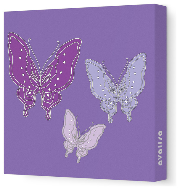 """Animal - Butterfly Stretched Wall Art, 18"""" x 18"""", Purple contemporary-kids-decor"""