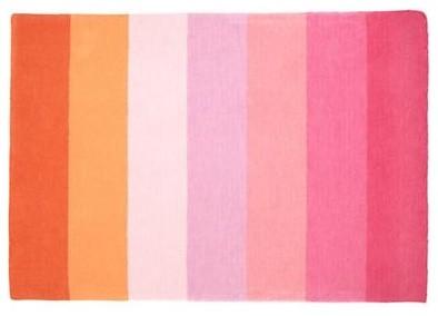 Pink & Orange Broad Stripe Wool Rug eclectic-kids-rugs