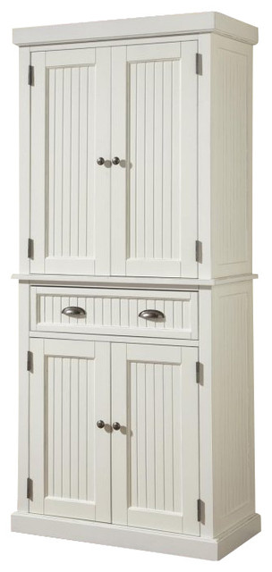 Home Styles Nantucket Pantry in Distressed White Finish - Farmhouse - Pantry Cabinets - by Cymax