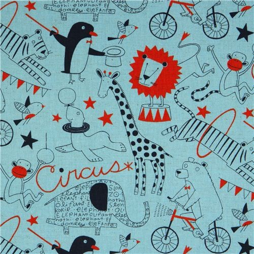 Blue Circus Animals Canvas Fabric eclectic upholstery fabric
