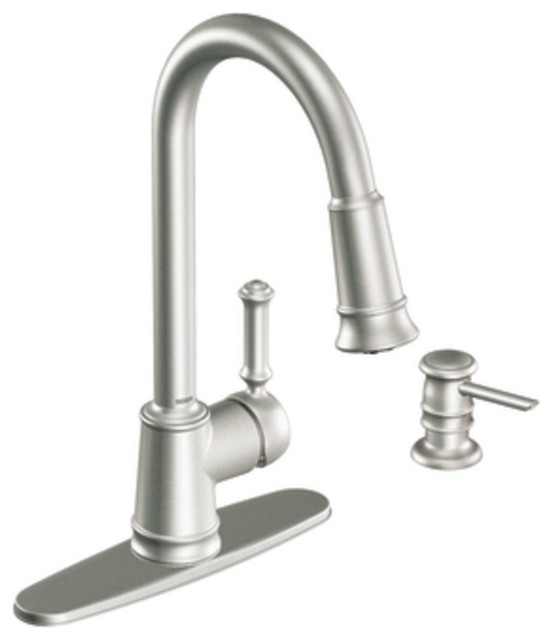 Moen Traditional Bathroom Faucet: Moen 87012SRS Lindley Single Handle Pullout Kitchen Faucet