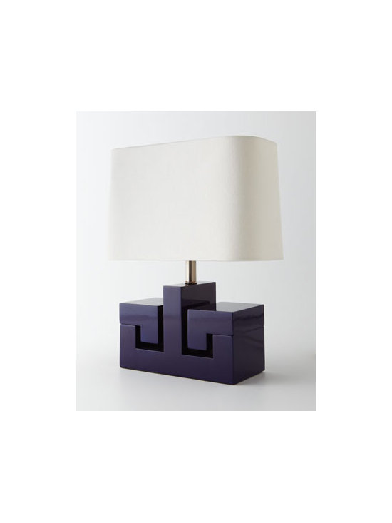 Horchow - Greek Key Mini Lamp - Exclusively ours. Sized for smaller spaces, this sculptural lamp offers a modern update to a classic and on-trend Greek-key motif. Handcrafted of acacia wood. High-gloss lacquer finish. Oval hardback linen shade. Uses one 60-watt bulb. On/off s...