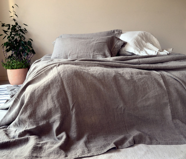 Rustic Rough Stonewashed Linen Bed Cover Coverlet King