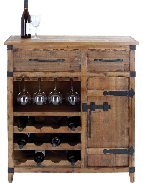 Wine Cabinet with Shelves, Racks and Utility Drawers traditional-storage-units-and-cabinets