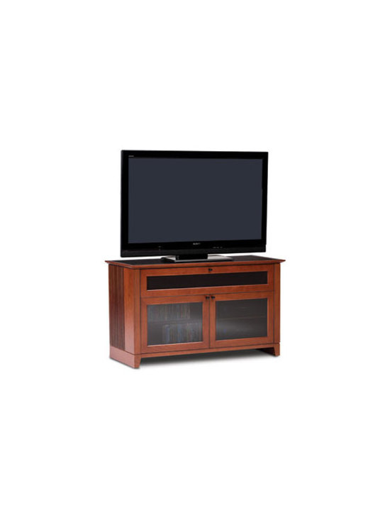 Furniture - Novia modernizes a traditional design with unique innovations. Features include hidden wheels to ease cabinet movement and facilitate access to the back, cable management to keep your home theater neat and organized, and integrated ventilation to keep your components operating at peak levels.