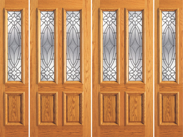 Prehung Mahogany Twin Lite Entry Double Glass Door Two Sidelights Traditional Front Doors