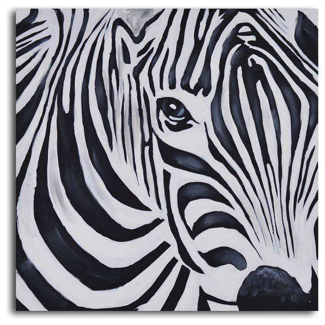 Zebra Perspective Hand Painted Canvas Art Eclectic