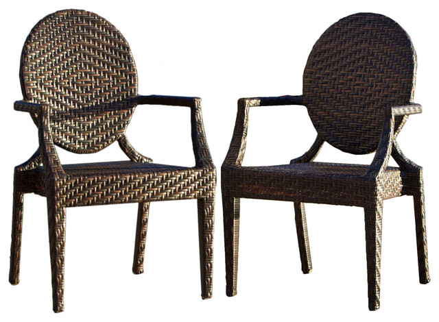 Townsgate PE Wicker Outdoor Arm Chair (Set of 2) contemporary-outdoor-lounge-chairs
