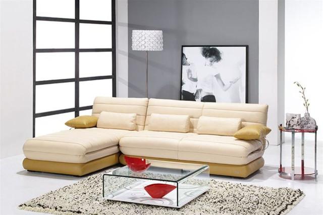 Unique leather upholstery corner l shape sofa modern for Unusual corner sofas