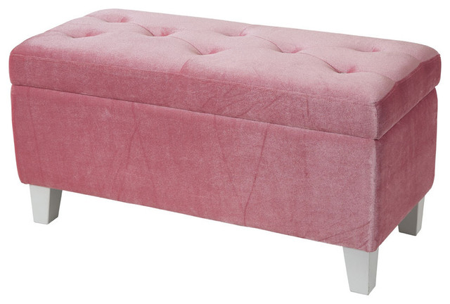 Young Parisian Storage Bench Pink Velvet Traditional