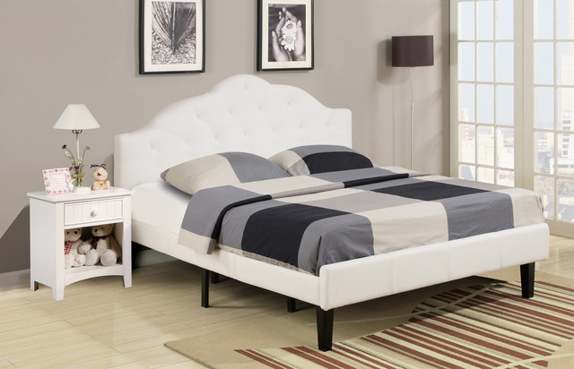 White Full Size Platform Bed Contemporary Platform