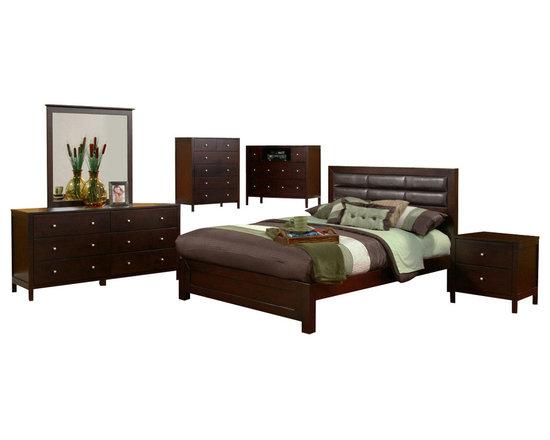 Alpine Furniture - Solana 6 PC Cal King Platform Bedroom Set with Faux Leather Headboard - Solana 6 PC California King Platform Bedroom Set with Faux Leather Headboard