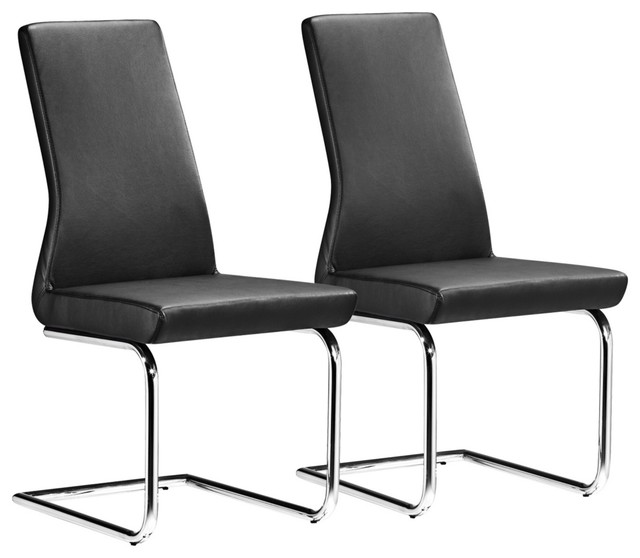 Set of 2 Zuo Sail Black Dining Chairs contemporary dining chairs and benches