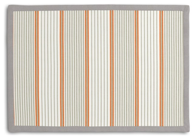 Gray & Orange Optical Stripe Tailored Placemat Set modern-kitchen-and-table-linens