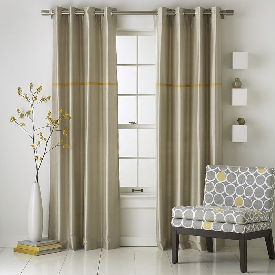Modern stripe silk window panel modern curtains by for West elm window treatments