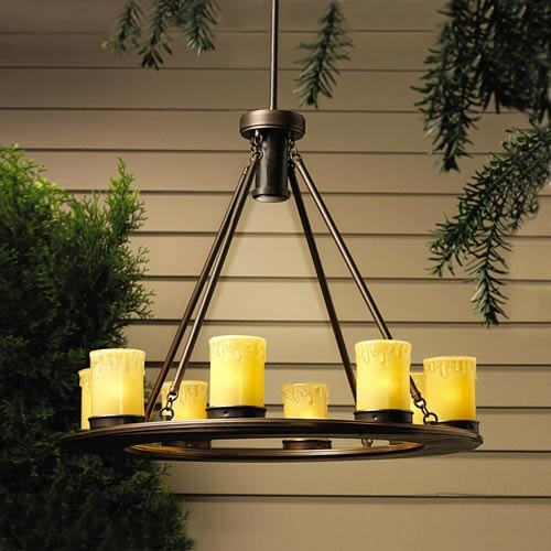 Oak Trail Eight-Light Outdoor Chandelier with Downlight modern-outdoor-flush-mount-ceiling-lighting